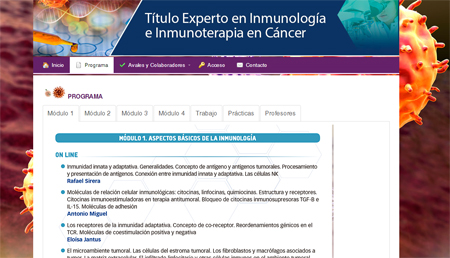 Titulo de Experto en Inmunología e Inmunoterapia en Cáncer
