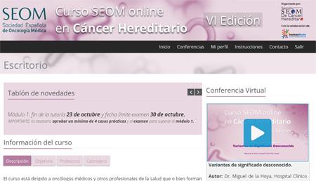 Arranca el VI Curso online SEOM-Instituto Roche en Cáncer Hereditario